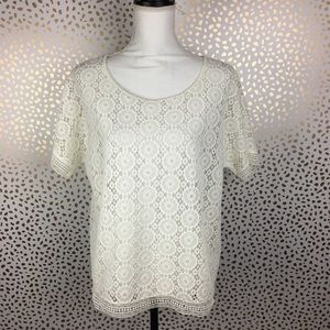 Chicos Ivory Lace Crochet Knit Short Sleeve Top